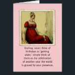 """Birthday Card Vintage Ackerman Lady Humor<br><div class=""""desc"""">Vintage Ackerman 1800&#39;s fashion plate woman reminder for your friend that birthdays are celebrations about them,  not a time to feel sad about getting older. Original concept by Angela Castillo.</div>"""