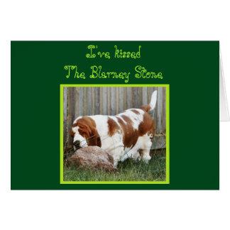 "Birthday Card w/""Blarney Stone"" Kissing Basset"
