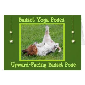 Birthday Card w/Funny Basset Hound Yoga Poses