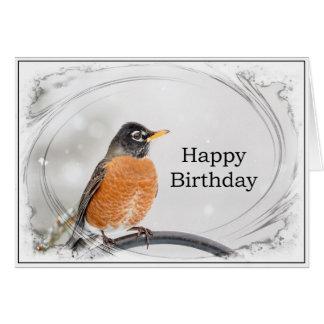 Birthday Card with a Robin