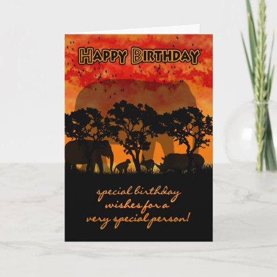 Birthday Card With African Scenery And Animals