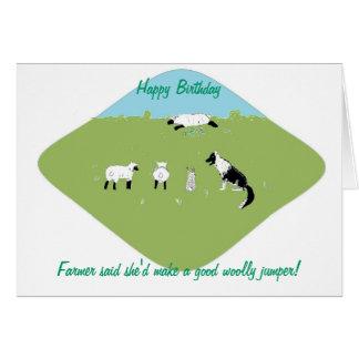 Birthday card with amusing sheep joke