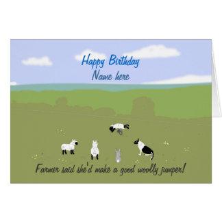 Birthday card with amusing sheep joke. Add name