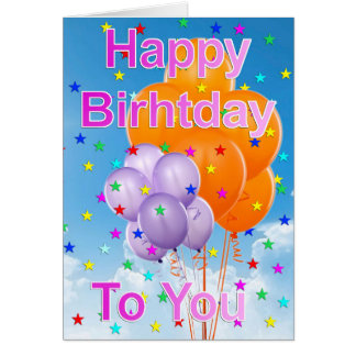 Birthday card with ball remunerations and rigid