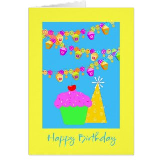 Birthday Card With Cake and Hat