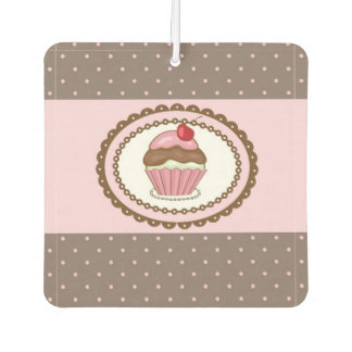 Birthday card with cupcake air freshener