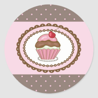 Birthday card with cupcake classic round sticker