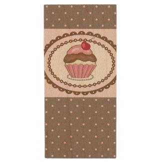 Birthday card with cupcake wood flash drive