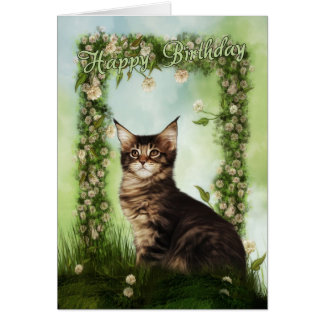 Birthday Card With Cute Cat
