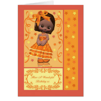 Birthday card with cute little African American