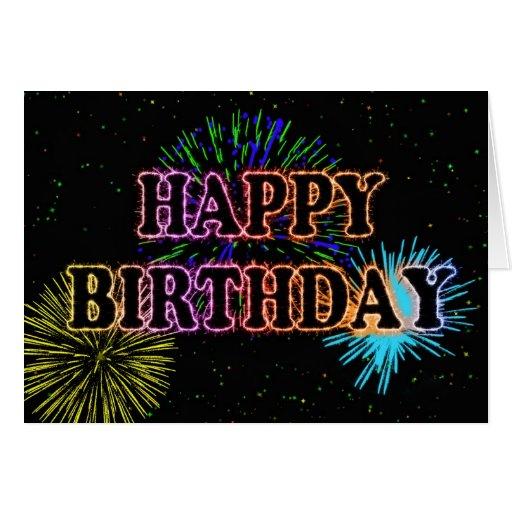 Birthday card with fireworks