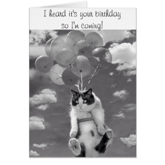 Birthday Card with flying Cat Greeting Card