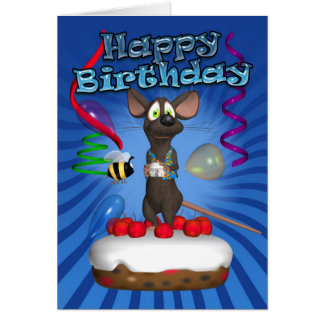 Birthday Card With Funky Mouse On A Cherry Cake