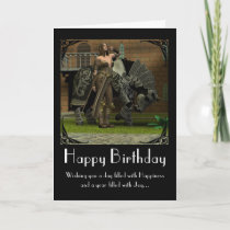 Birthday Card with horse and warrior medieval