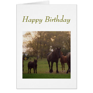 birthday card with horses and tractor