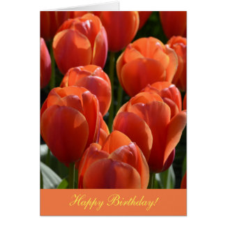 Birthday Card with Orange Tulips