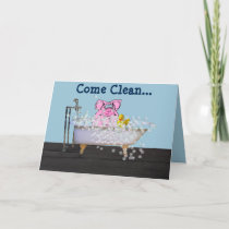 Birthday Card with Pig in a Bubble Bath