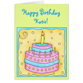 Birthday Card with Pink and Turquoise Cake
