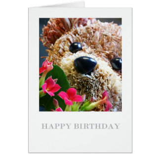 Birthday Card With Teddy Bear And Flowers