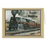 birthday, card, train, locomotive, model,