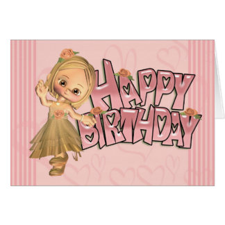 Birthday Card With With Cute Little Girl