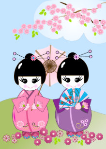 Birthday Card Wth Japanese Dolls Cherry Blossoms