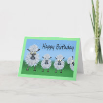 Birthday Cartoon Caricature of A Sheep and Lambs Card