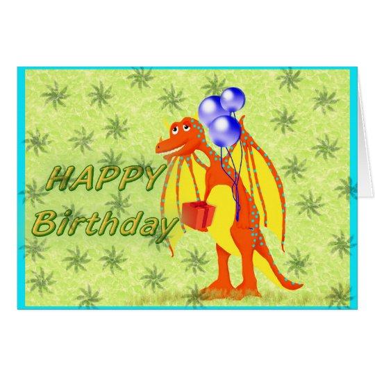 Birthday Cartoon Dragon Card