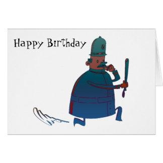 Birthday Cartoon Policeman Greeting Card