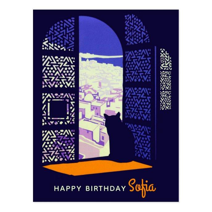 Birthday Cat in a window Casablanca Morocco CC0091 Postcard