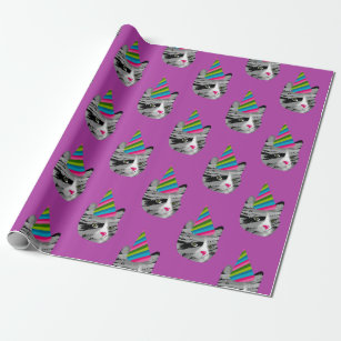 Birthday Cat In Party Hat Wrapping Paper