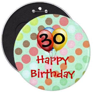 "Birthday Celebration ""30"" Button Template"
