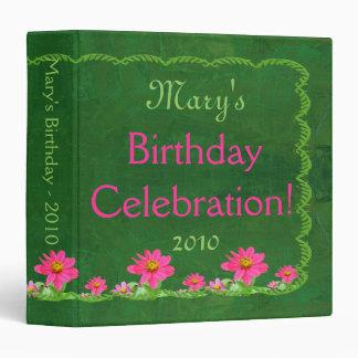 Birthday Celebration Album Pink Zinnias Binder
