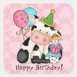 Birthday Celebration Cow Sticker