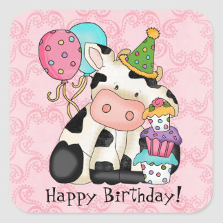 Birthday Celebration Cow Sticker