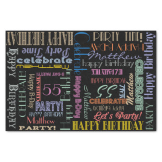 """Birthday Celebration! Fontography NAME and AGE 10"""" X 15"""" Tissue Paper"""