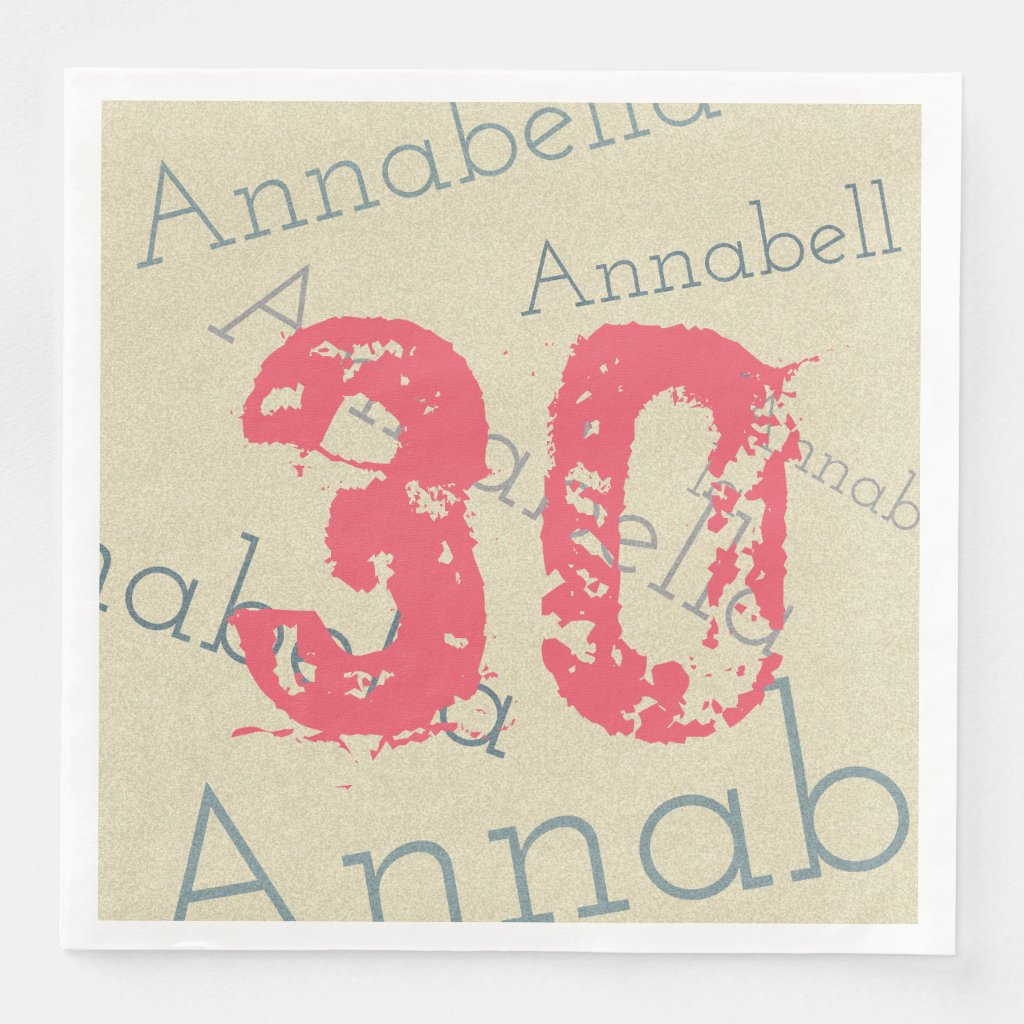 Birthday Celebration Pink 30 Custom Name and Age