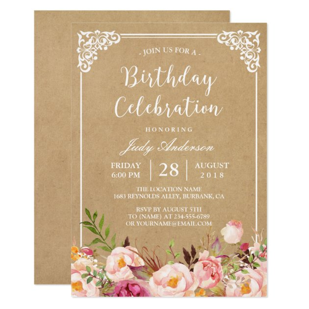 Birthday Celebration | Rustic Floral Frame Kraft Card