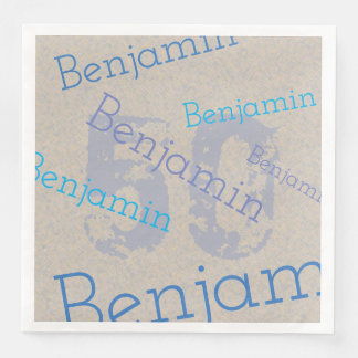 Birthday Celebration with Custom Name and Age Paper Dinner Napkin
