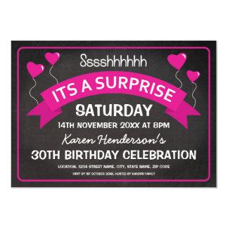 Birthday Chalkboard Surprise Pink Balloons Card