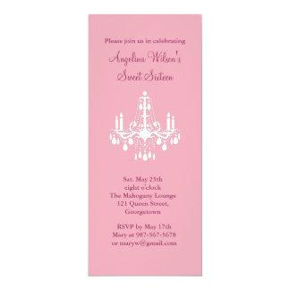 "Birthday Chandelier (pink) 4"" X 9.25"" Invitation Card"