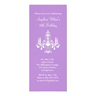"Birthday Chandelier (purple) 4"" X 9.25"" Invitation Card"