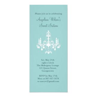 "Birthday Chandelier (turquoise) 4"" X 9.25"" Invitation Card"
