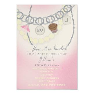 Birthday Charm Bracelet & Pearls Jewelry Invite