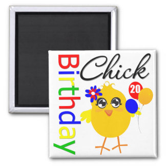 Birthday Chick 20 Years Old 2 Inch Square Magnet