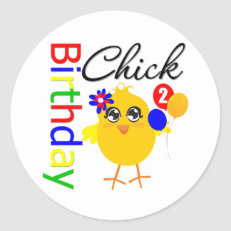 Birthday Chick 2 Years Old Stickers
