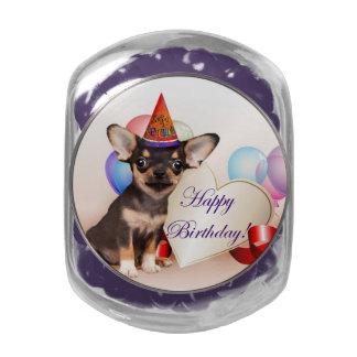 Birthday Chihuahua dog Glass Jar