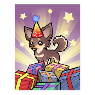 Birthday Chihuahua (long coat) Postcard