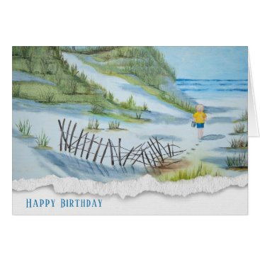 birthday-child on beach watercolor card