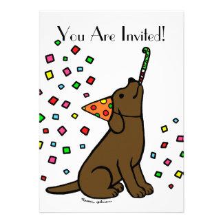 Birthday Chocolate Labrador Cartoon Announcements